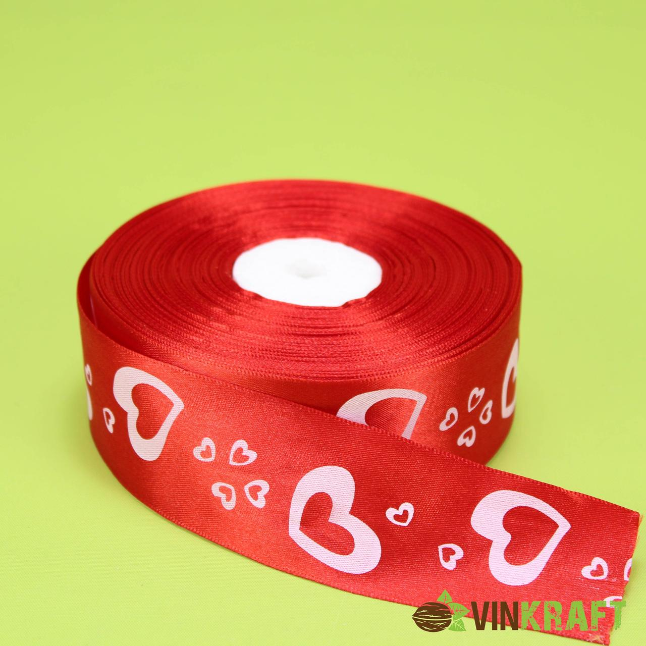 """Стрічка атласна  40 мм (46 м) """"Серце"""", червона"""