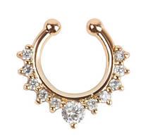 Серьга-обманка в нос с камнями Golden Star