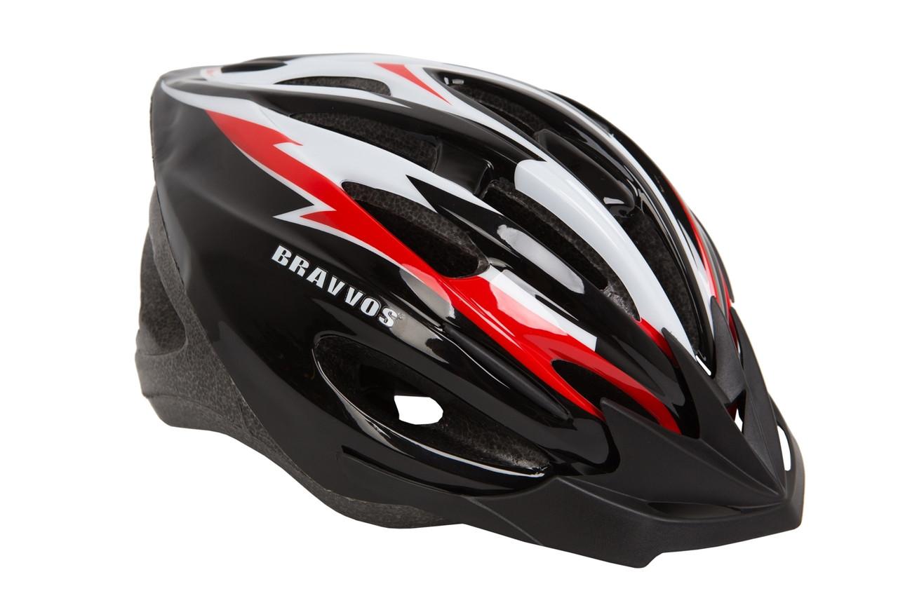 Шлем велосипедный Bravvos HE127 черно-бело-красный (M, 54-57см)