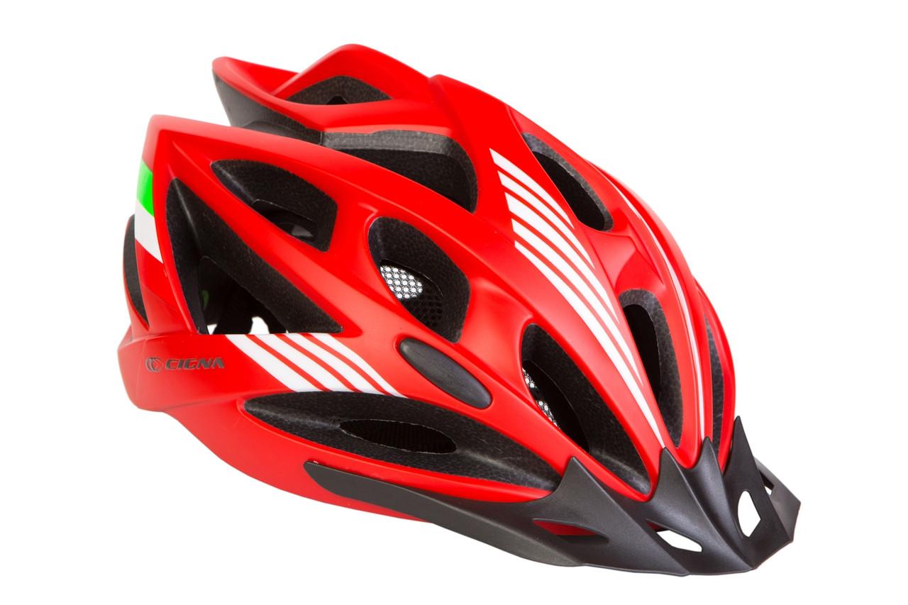 Шлем велосипедный с козырьком CIGNA WT-036 М (54-57 см) красный
