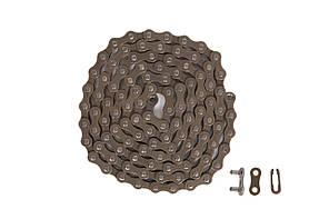 Цепь для велосипеда KMC S1 brown, односкоростная (Single Speed) с замком, 110 звеньев