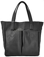 Черная женская кожаная сумка с карманами