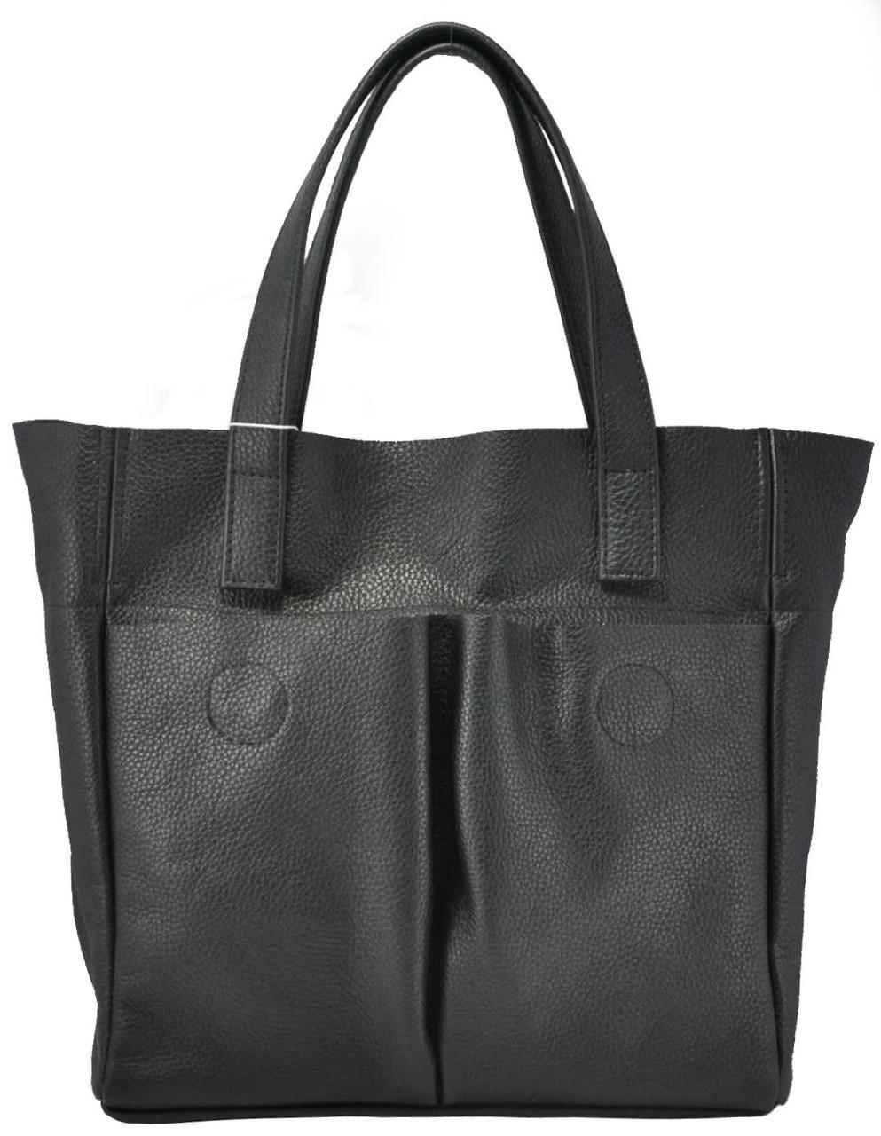 adcc8102b531 Черная женская кожаная сумка с карманами - Интернет магазин