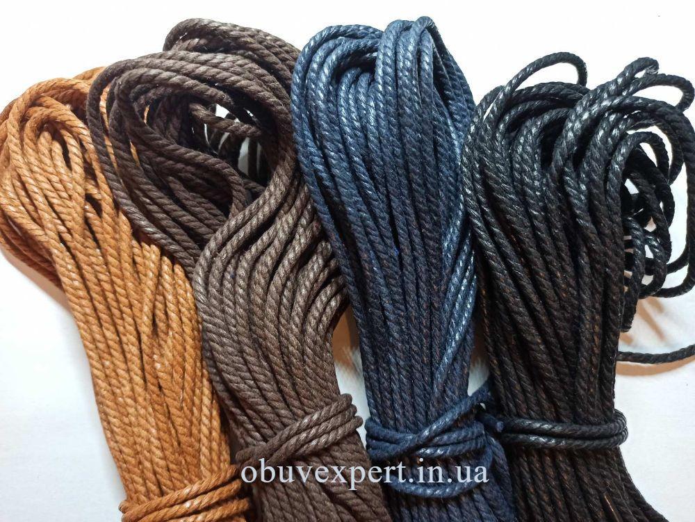 Шнурки обувные вощенные Веревка, d=3 мм, цв. в ассортименте