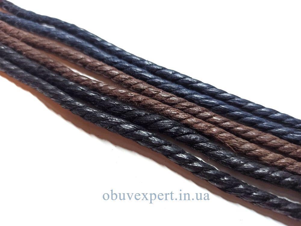 Шнурки обувные вощенные Веревка, d=4 мм,цв. в ассортименте