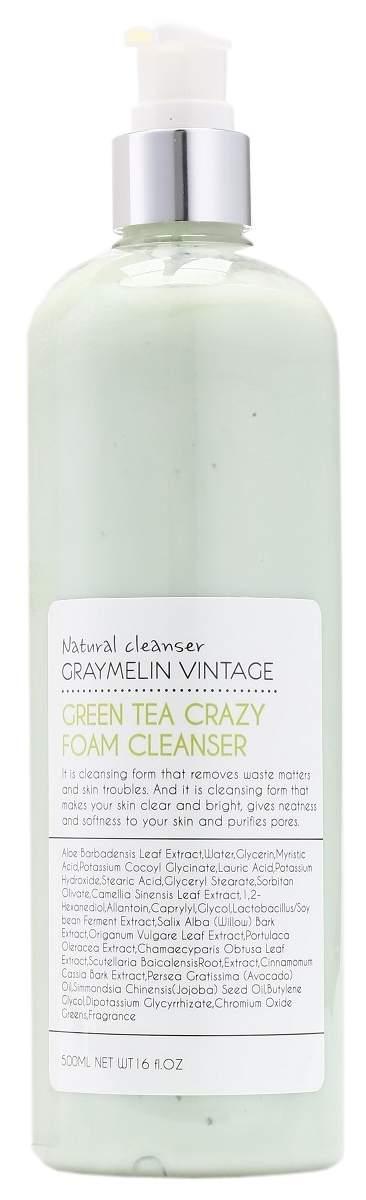 Пенка для умывания с зеленым чаем Graymelin Green Tea Crazy Foam Cleanser 500 мл