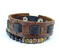 Набор Мужской браслет-кожаный браслет- браслет из камня тигровые глаза -плетенный браслет-мужской (S-1)