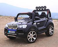 Детский электромобиль Джип BMW_4WD, 2-х местный, Кожа, EVA-резина, Амортизаторы, черный