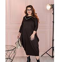 Очаровательное платье батал в стиле бохо №114-1-шоколадный