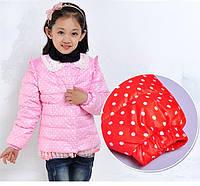 Куртка для девочки в горошек деми сезон осень весна куртка детская розовый