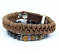 Набор Мужской браслет-кожаный браслет- браслет из камня тигровые глаза -плетенный браслет-мужской браслет(S-7)