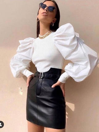 Стильная кожаная юбка с завышенной талией, фото 2