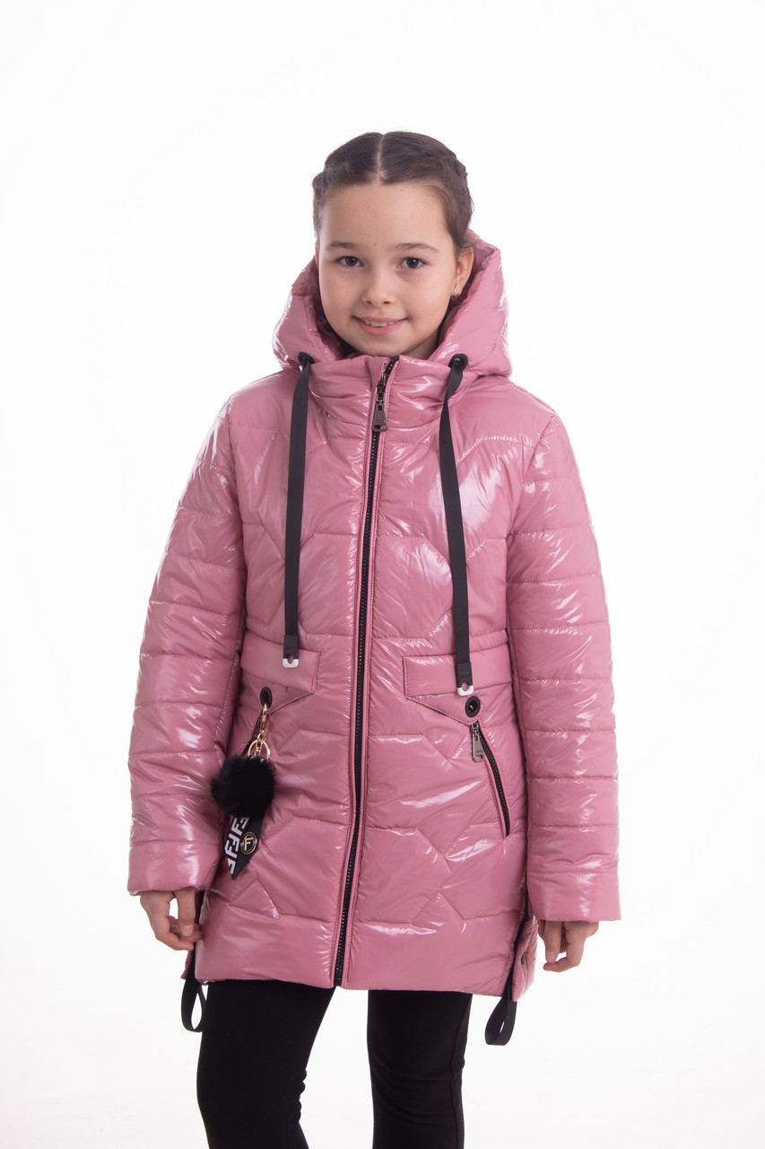 Куртка для девочки на весну удлиненная 32-42  Розовый