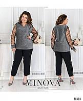 Женский красивый стильный деловой костюм- двойка, блуза + брюки. Большого размера 50, 52, 54, 56, 58, 60 серый