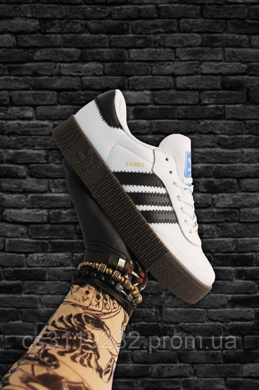 Женские кроссовки Adidas Samba White Black (бело-черные)