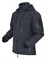 Тактическая куртка Софшелл Черная. Демисезонная