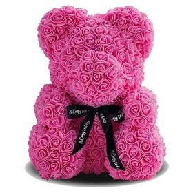 Мишка из роз - 25 см. в упаковке - пластиковый бокс - красный, белый, светло-розовый, темно-розовый