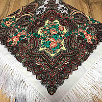Красивый платок для девушек с цветами (110х110см, белый, 80%-шерсть)