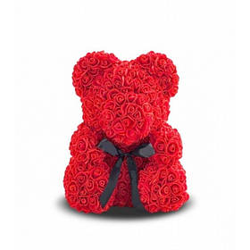 Мишка из роз - 25 см. в упаковке - пластиковый бокс - красный, белый, светло-розовый, темно-розовый Красный