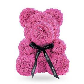 Мишка из роз - 25 см. в упаковке - пластиковый бокс - красный, белый, светло-розовый, темно-розовый Светло-Розовый