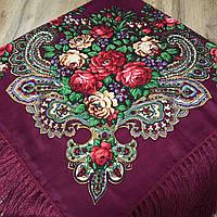 Красивый платок для девушки (110х110см, 80%-шерсть,бордовый)