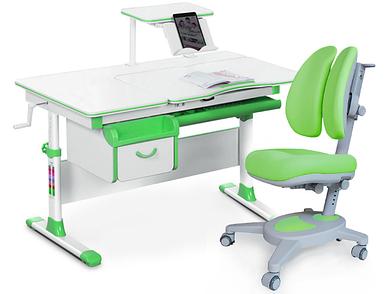 Комплект Evo-kids Evo 40 Z Green (арт. Evo-40 Z + кресло Y-115 KZ) /(стол+ящик+полка+кресло)/ белая столешница