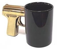 Чашка пистолет Kronos Top Черная с золотой ручкой (frs_112867)