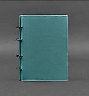 Блокнот кожаный на кольцах, софт-бук бирюзовый в твердой обложке (ручная работа)