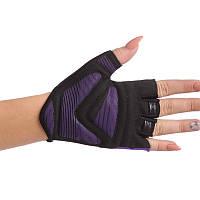 Перчатки для фитнеca женские MARATON, PVC, PL, открытые пальцы, р-р S-L, фиолетовый (F-GI)