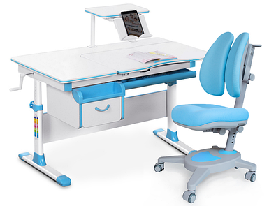 Комплект Evo-kids Evo 40 BL Blue (арт. Evo-40 BL + кресло Y-115 KBL) /(стол+ящик+полка+кресло)/ белая столешни