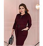 Приталенное женское платье плюс сайз цвет-марсала, фото 4