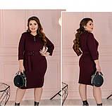 Приталенное женское платье плюс сайз цвет-марсала, фото 2