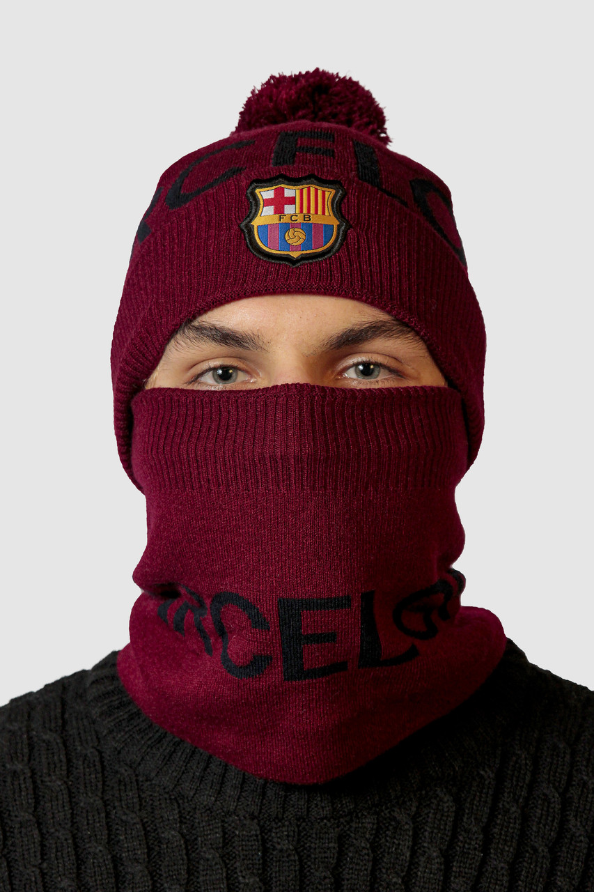 Шапка в комплекте с баффом FC Barcelona
