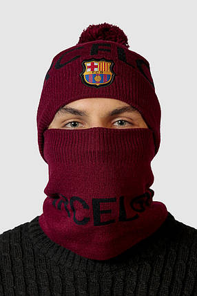 Шапка в комплекті з баффом FC Barcelona, фото 2