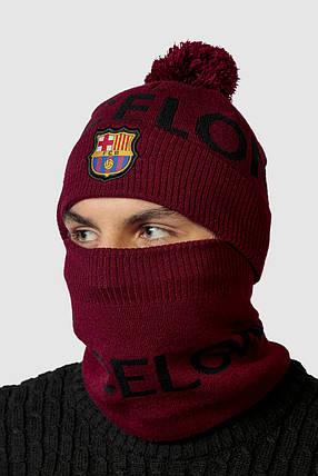 Шапка в комплекте с баффом FC Barcelona, фото 2