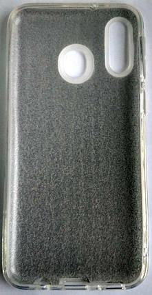Силиконовый чехол для Samsung M20 / M205 с блестками (белый), фото 2