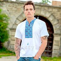 """Футболка чоловіча вишита """"Козацький хрест"""" біла з блакитною вишивкою, фото 1"""