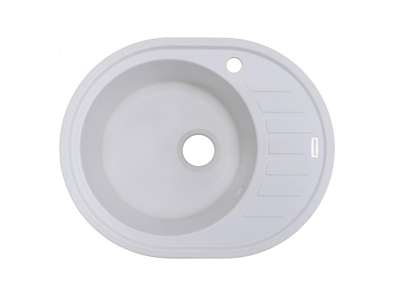 Кухонная мойка гранитная белая 62*50 см ADAMANT OVUM (белый)