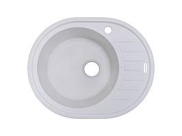 Кухонна мийка гранітна біла 62*50 см ADAMANT OVUM (білий)
