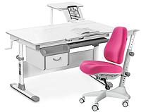 Комплект Evo-kids Evo-40 G Grey (арт. Evo-40 G + кресло Y-528 KP) /(стол+ящик+полка+кресло)/ белая столешница,