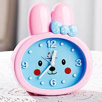 Детские настольные часы-будильник Зайка. Розовые ушки