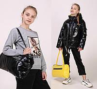 Модные куртки для девочек демисезонные с капюшоном лаковые