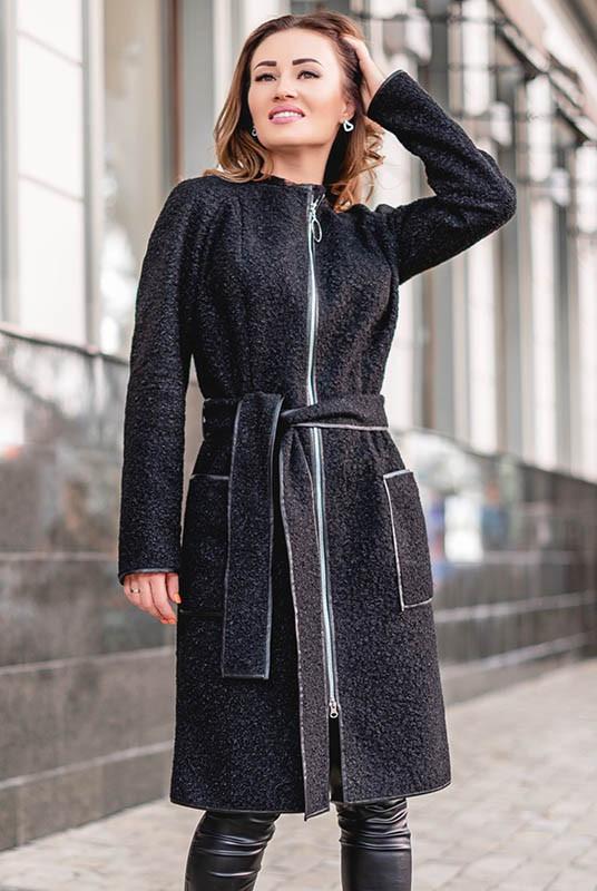 Пальто женское на молнии ( шерсть букле )  42-70 р-ры