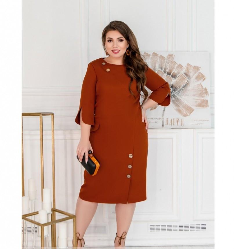 Повседневное платье женское батал цвет-кирпичный