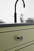 Ручка-кнопка BELL FURNIPART d42х32мм, антич. серебро, нерж. пол., черный мат.