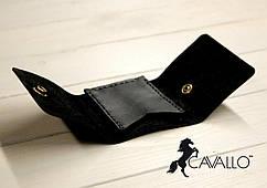 Затиск для грошей з натуральної шкіри Cavallo™ Crazy Horse Classic, чорний С0008