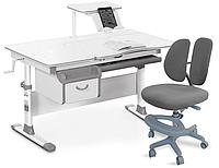 Комплект Evo-kids Evo-40 G Grey (арт. Evo-40 G + кресло Y-408 G)/(стол+ящик+полка+кресло)/ белая столешница, ц