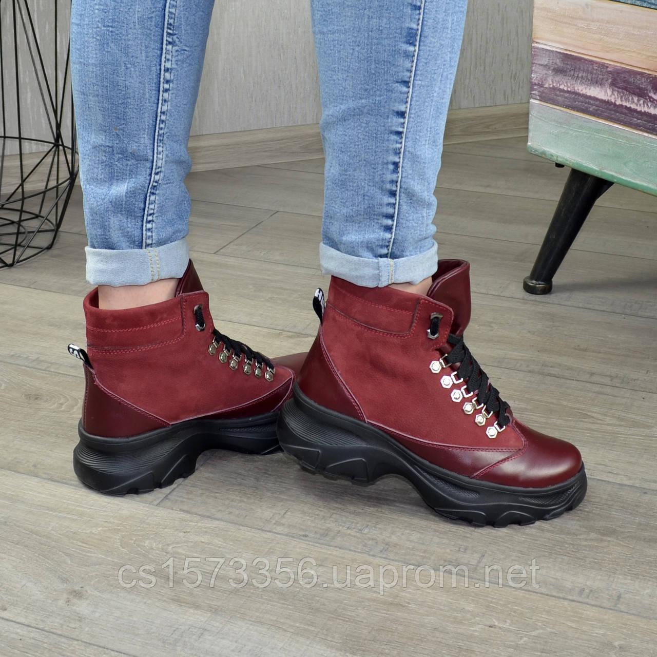 Ботинки женские в спортивном стиле, на шнорувке, натуральная кожа и нубук бордового цвета