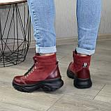 Ботинки женские в спортивном стиле, на шнорувке, натуральная кожа и нубук бордового цвета, фото 2