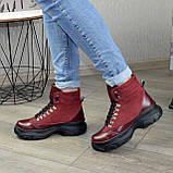 Ботинки женские в спортивном стиле, на шнорувке, натуральная кожа и нубук бордового цвета, фото 3